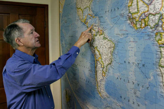 Jack Harbeston, the managing director of the salvage firm Sea Search Armada, shows the location of the Spanish galleon San Jose on May 24. Sea Search Armada has been involved in a 20-year legal battle against Colombia's government, over claims to the Spanish galleon San Jose's loot.