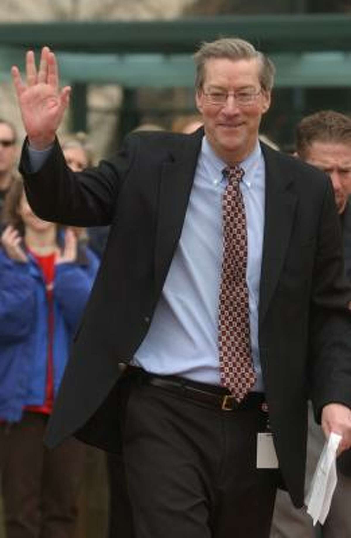 Dave Lesar, the chairman and CEO of Halliburton, attends the dedication of Halliburton Plaza at Minute Maid Park in 2003.