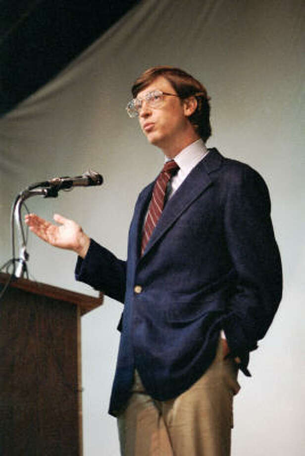 Microsoft leader Bill Gates, in April 1987, speaks to the Houston Area League of PC Users. Photo: Houston Chronicle File