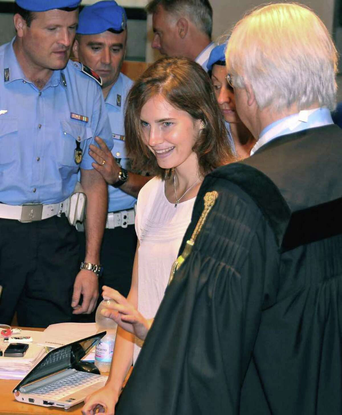 American student Amanda Knox arrives for the hearing Monday. (AP Photo/Stefano Medici)