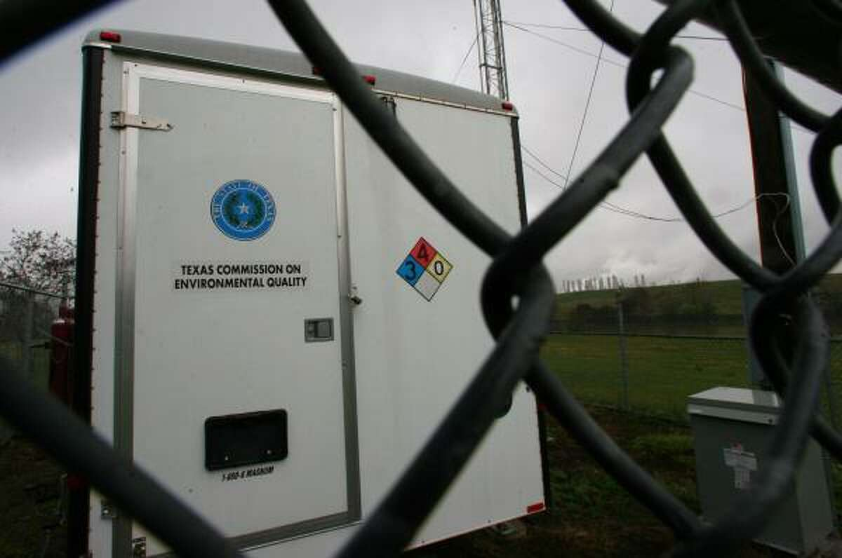Mayor Bill White said air monitoring stations at three sites in east Houston, including this one at Milby Park, have shown significant drops in the levels of 1,3-butadiene.