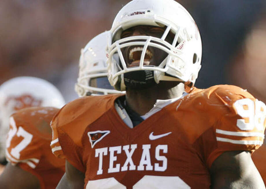 Texas defensive end Brian Orakpo was the first Longhorn to speak about the use of a racial slur by teammate Buck Burnette. Photo: Julio Cortez, Chronicle