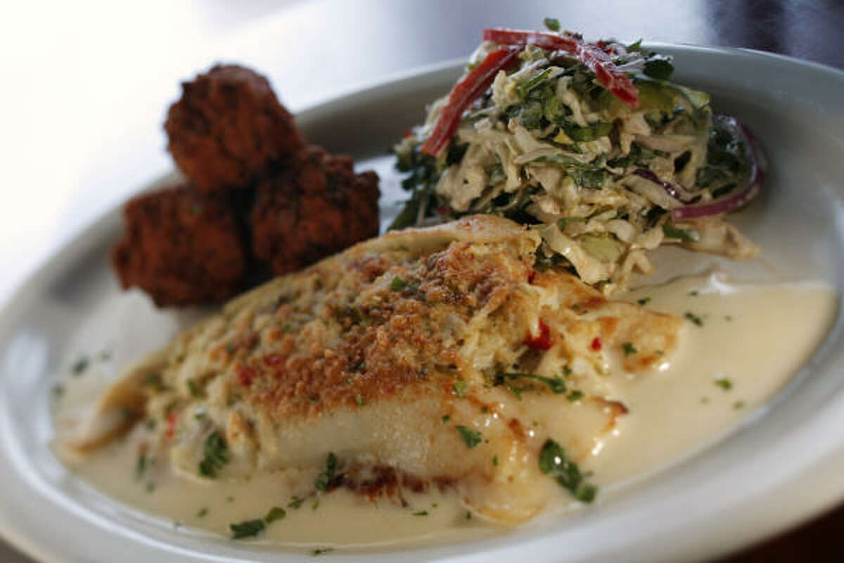 Stuffed flounder with hush puppies and slaw.