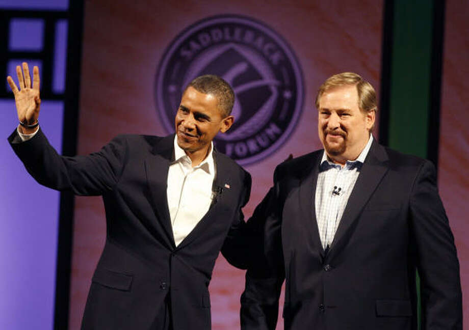 In the run-up to the forum he led last August with then-Democratic candidate Sen. Obama, D-Ill., left, and Sen. John McCain, R-Ariz, those giving Pastor Rick Warren of Saddleback Church the most grief were conservatives. Photo: Richard Vogel, Associated Press