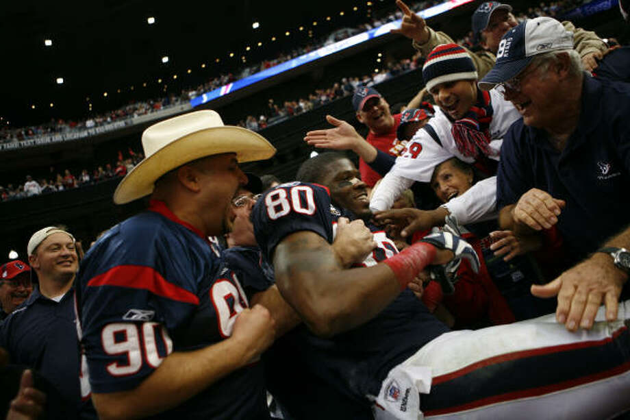 The Texans and Andre Johnson (80) have evolved nicely over the last four years, from a 2-14 mess to 8-8 respectable to, finally, a 9-7 winner. Photo: Nick De La Torre, Chronicle