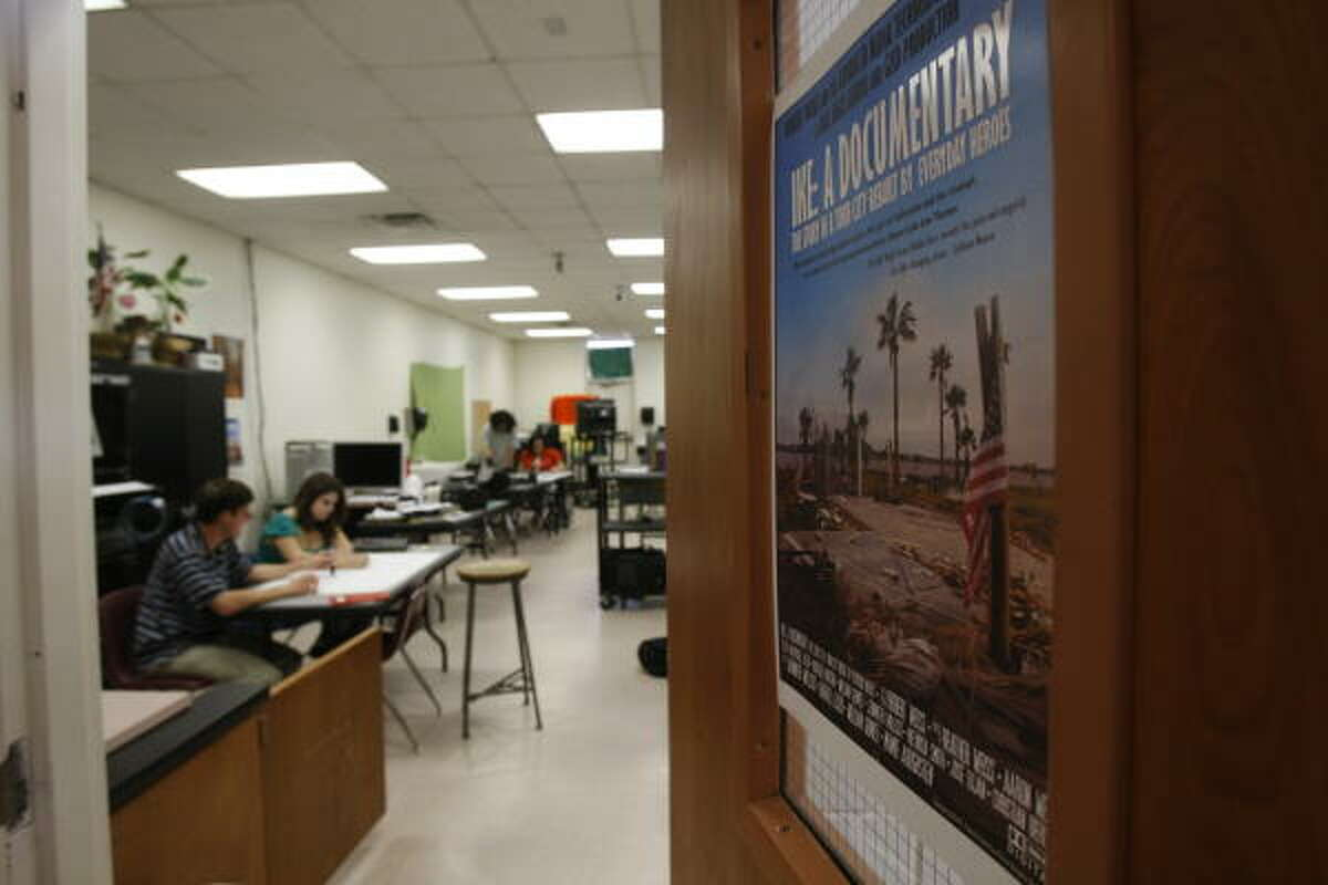 A poster on the door of the advance media technology class at Ball High School touts the group's project, which is scheduled to premiere May 21.