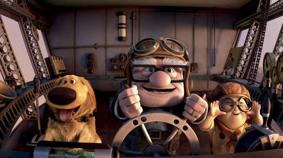Dug, from left, Carl Fredricksen and Russell become good friends during their adventures in Up. Photo: Disney | Pixar