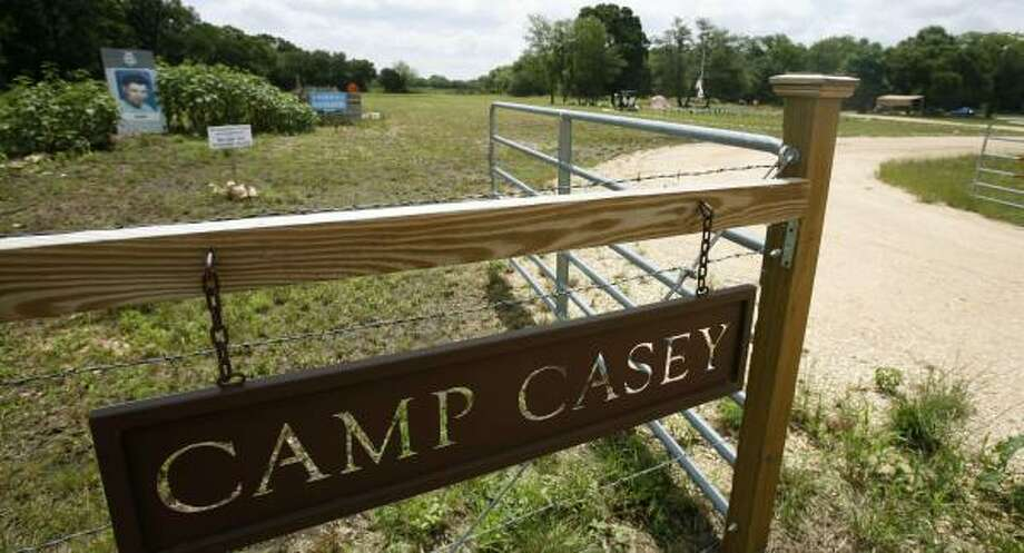 War supporters want to buy Camp Casey, while peace activists hope to keep the symbolic land. Photo: MATT SLOCUM, AP