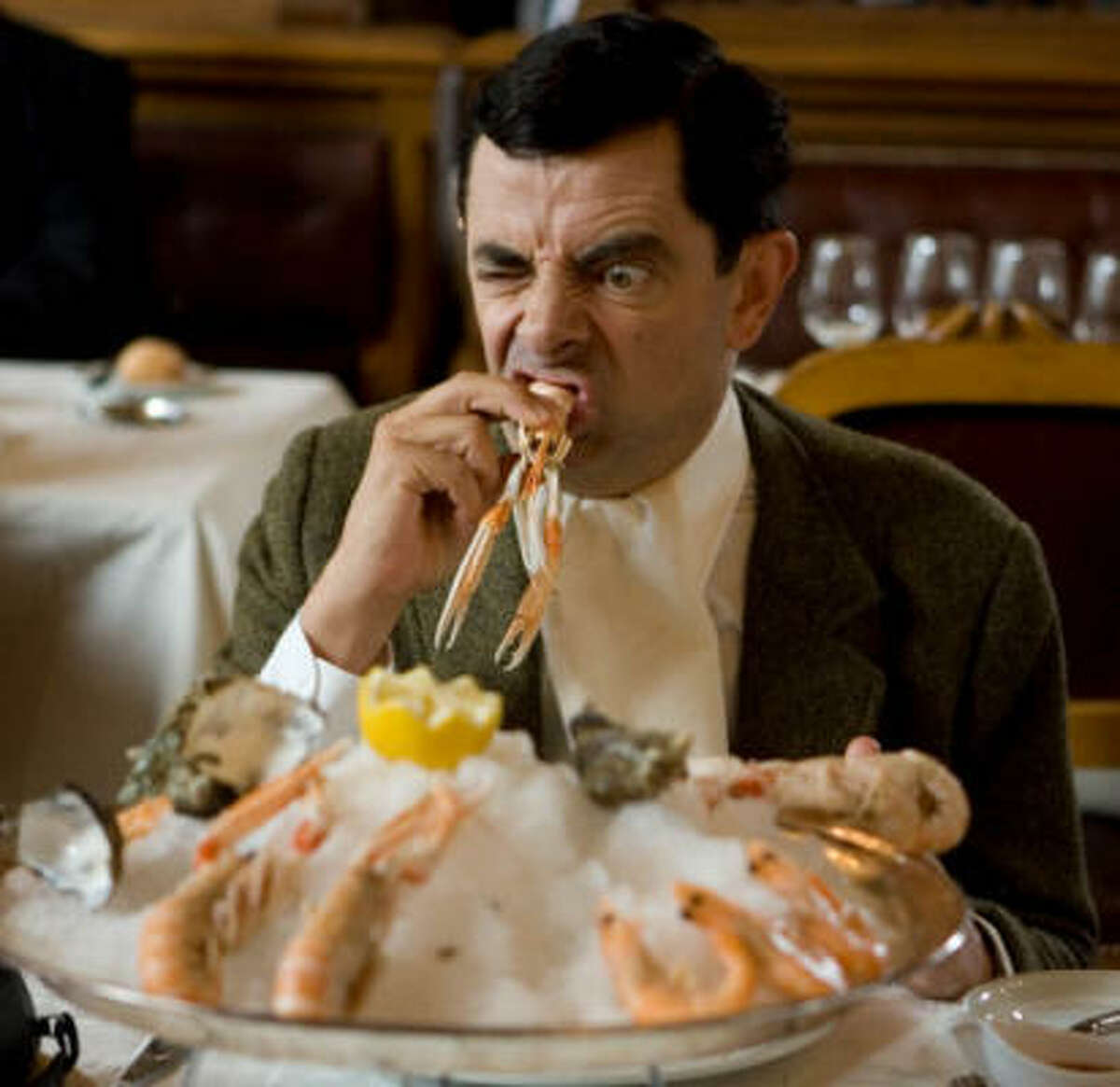 Mr. Bean samples fine French cuisine in Mr. Bean's Holiday.