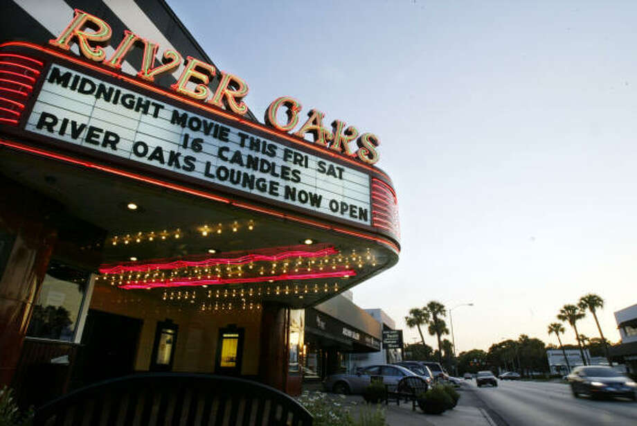 As demolition work continues nearby, the River Oaks Theater remains open. Preservationists hope to save the 1939 vintage movie house, whose lease is up in 2010, and the Alabama Theater on Shepherd. Photo: Jessica Kourkounis, For The Chronicle