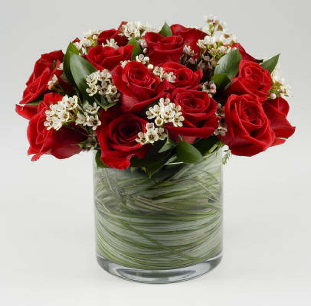 Arrangement of a dozen red roses from The Cutting Garden, in 2008.