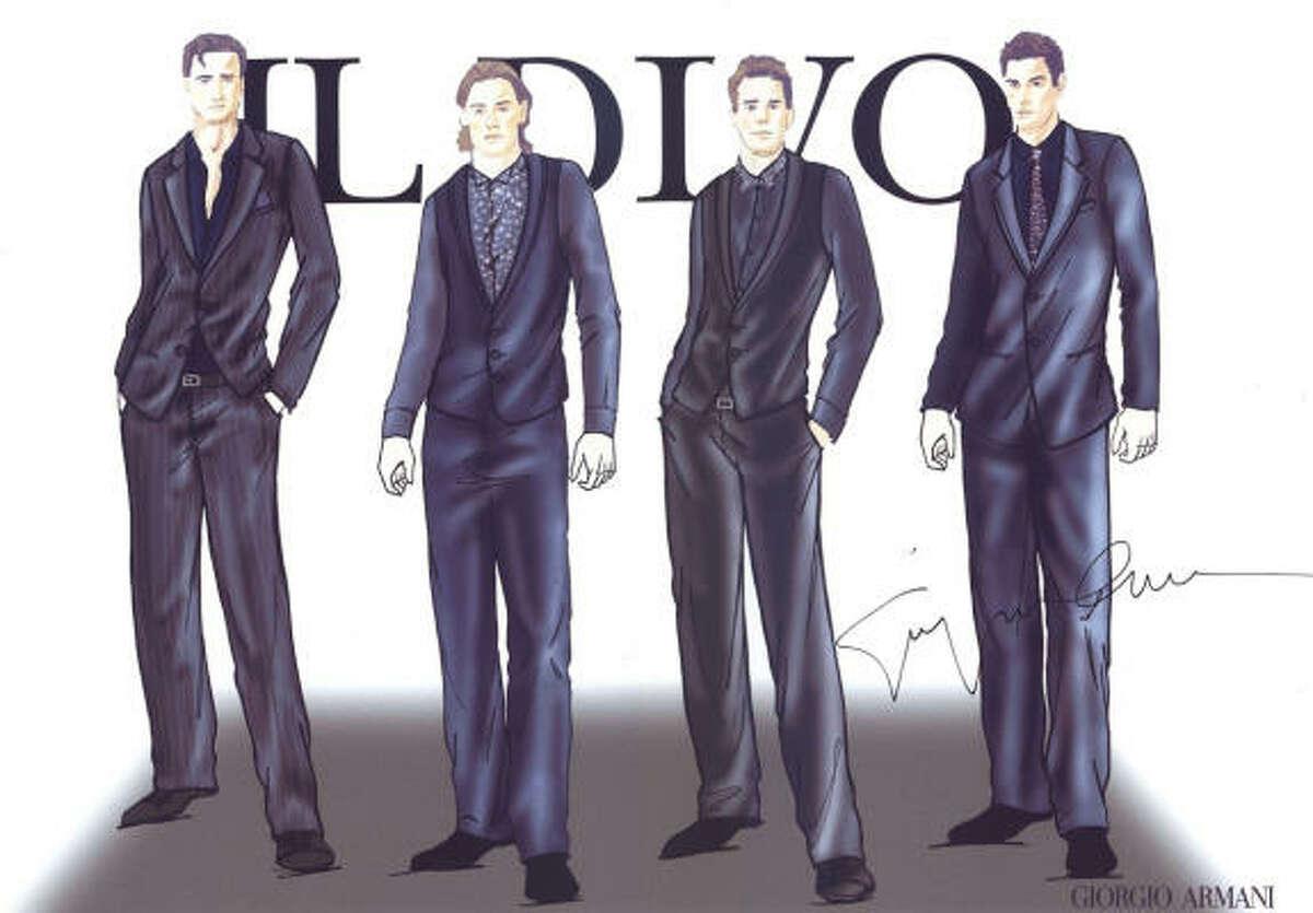 Giorgio Armani designed the costumes for Il Divo's 2009 tour.