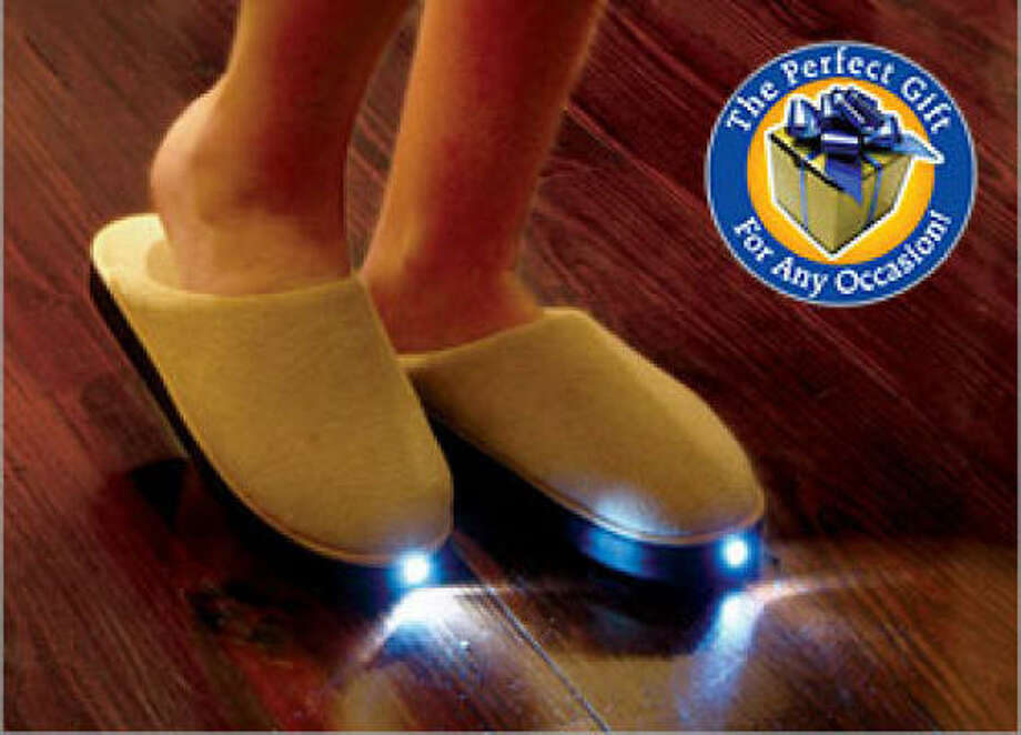 BrightFeet Lighted Slippers are meant to make late-night bathroom trips or fridge raids safe on your toes with up to 25 feet of LED illumination. Photo: BRIGHTFEETSLIPPERS.COM