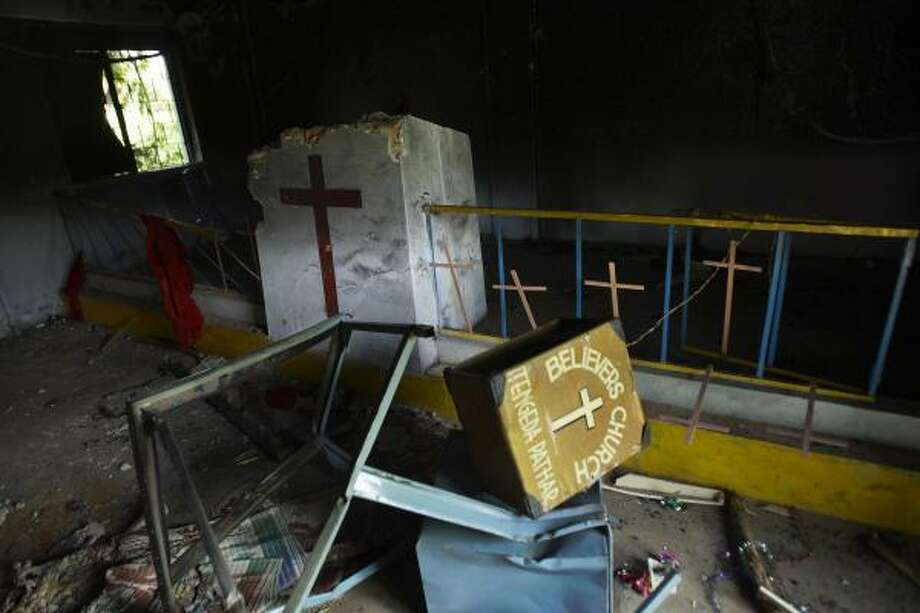 A church in Tengedapathar, in eastern India, was among dozens burned last fall in a campaign by Hindu hard-liners. India is more than 80 percent Hindu, but its population of 1.1 billion includes members of all of the world's major religions. Photo: GURINDER OSAN, ASSOCIATED PRESS FILE