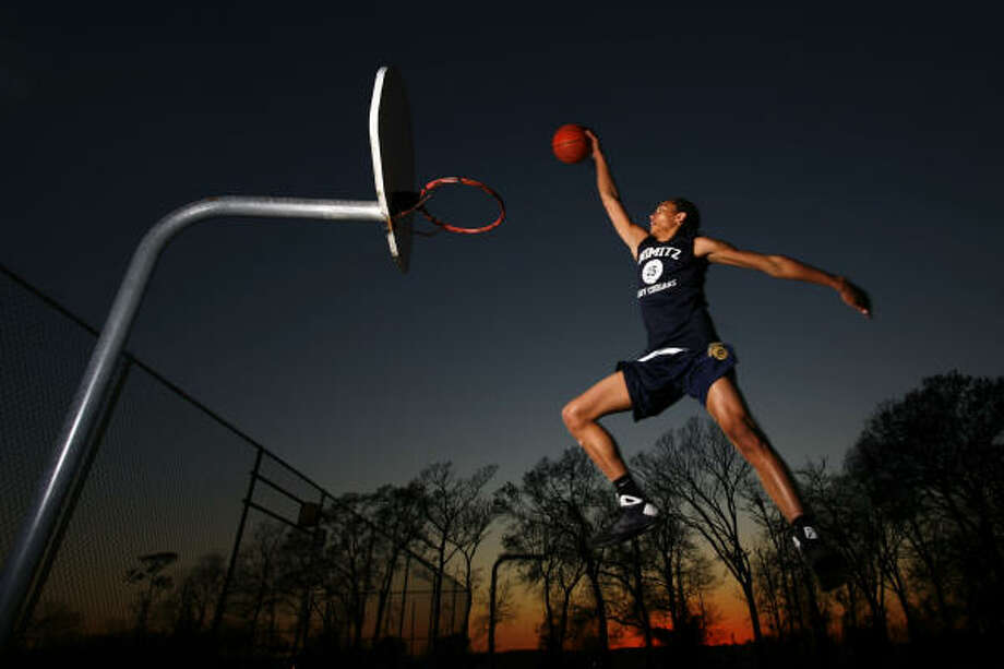 "Brittney Griner of Nimitz High School, the state's top-ranked Class 5A team, is heading to Baylor as the consensus No. 1 recruit in the nation. ""I figure I can't shrink,"" Griner said, ""so I might as well use my height."" Photo: Michael Paulsen, Chronicle"