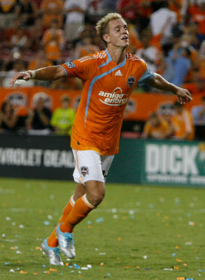 Stuart Holden and the Dynamo take a quick break from the MLS grind with the Group A opener of the Champions League. Photo: Julio Cortez, Chronicle