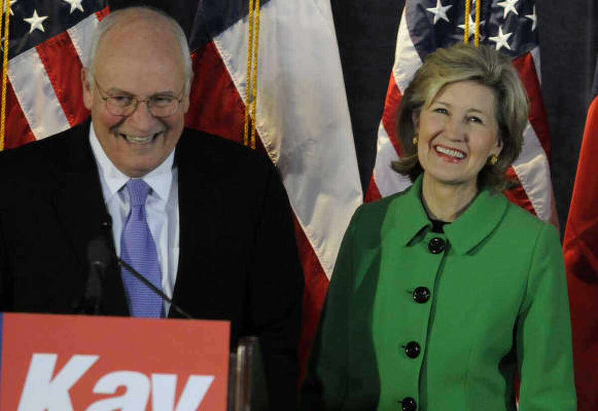 Former Vice President Dick Cheney lends his support to Sen. Kay Bailey Hutchison Tuesday.