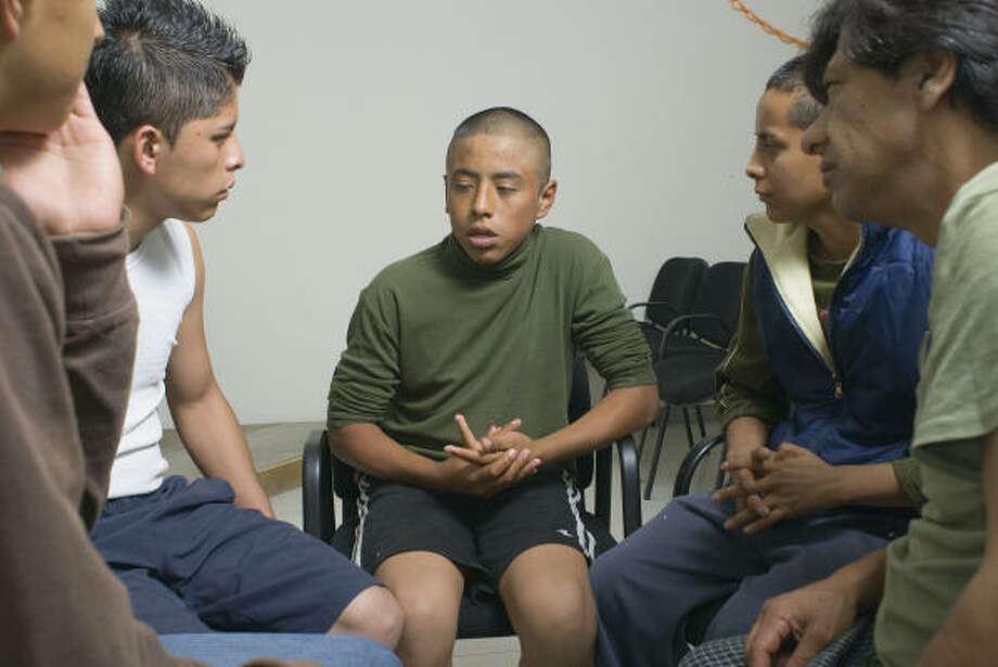 Residents of the municipally run Addiction Treatment Center in Ciudad Nezahualcoyotl express their feelings and concerns at a weekly communication session. Photo: Keith Dannemiller, For The Chronicle