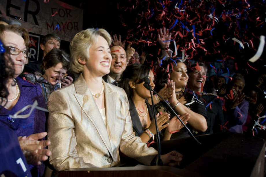 Annise Parker, current city controller, defeated former City Attorney Gene Locke in Saturday's tight runoff election. Photo: Smiley N. Pool, Chronicle