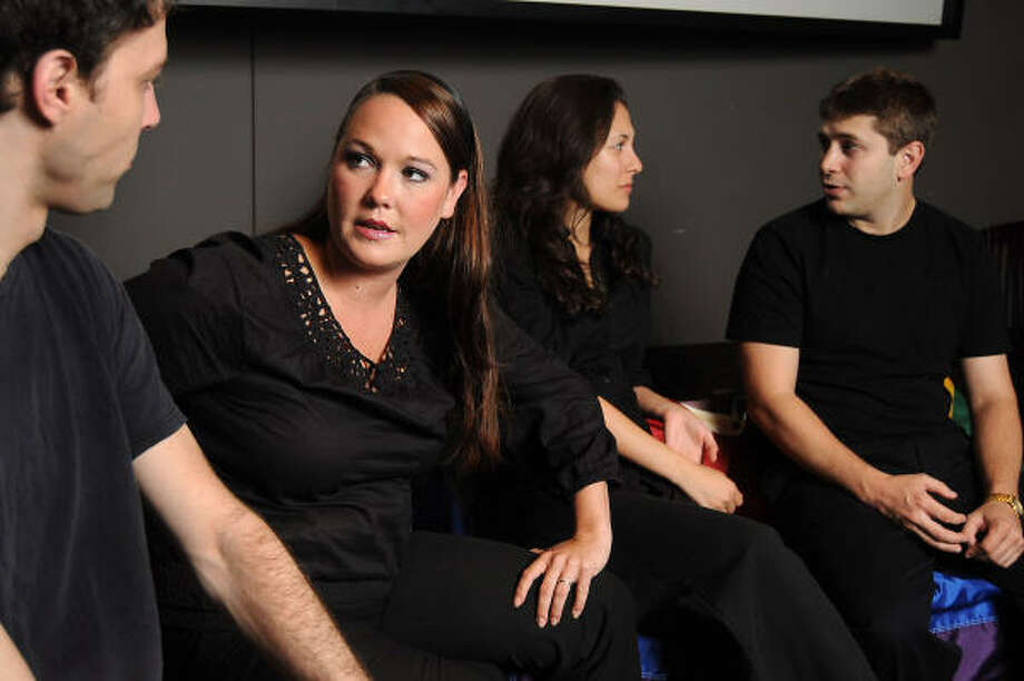 "Jordan Jaffe, from left, Alyssum Genthon, Nina Garcia and Brian Chambers in ""The Laramie Project"" at the Holocaust Museum Houston, directed by Joe Watts. Photo: Dave Rossman, For The Chronicle"