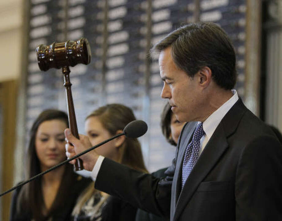 Speaker of the House Joe Straus, R-San Antonio, gavels the 82nd Texas Legislature - with the most freshmen in decades - into order on Tuesday. Photo: Eric Gay, AP