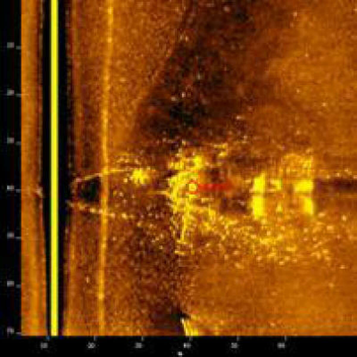 Experts say this sonar image, taken by crews surveying the Gulf of Mexico for Hurricane Ike debris, could be that of the Civil War-era merchant ship the Carolina.