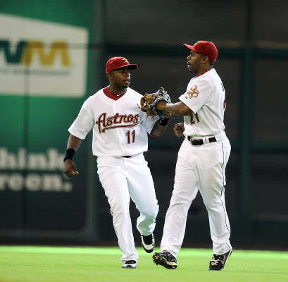 Jason Bourgeois, left, went 5-for-17 at the plate since joining the Astros on June 22. Photo: Karen Warren, Chronicle