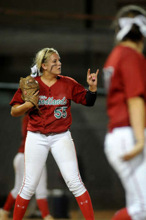 The Woodlands pitcher Paige McDuffee struck out 10 batters and allowed just four hits en route to the win on Friday night. Photo: Jerry Baker, For The Chronicle