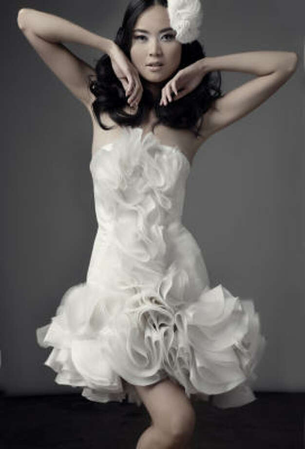 Chloe Dao S New Bridal Collection Includes This Elaborate Short Strapless Dress Called The Rayna
