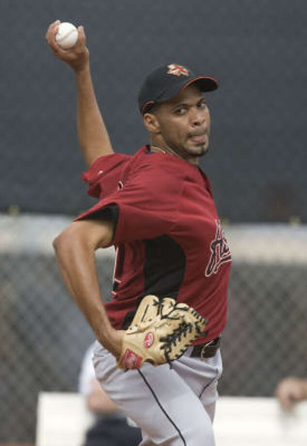 Polin Trinidad's fastball isn't all that fast (88 mph or so on the gun), his changeup not all that slow, and his breaking ball and slider are in need of sharpening. At the upper level of the minors, that will be exposed. Photo: James Nielsen, Houston Chronicle