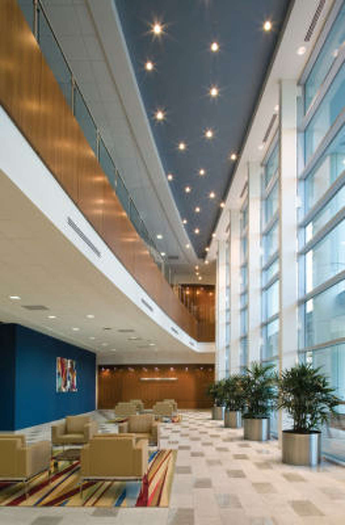 Julie Gauthier, of Kirksey, won a first place ASID award for the Health Sciences Center of Texas Woman's University in Houston. Deep colors soften to pastels as one rises through the building. Key features are limestone walls and pendant fixtures.