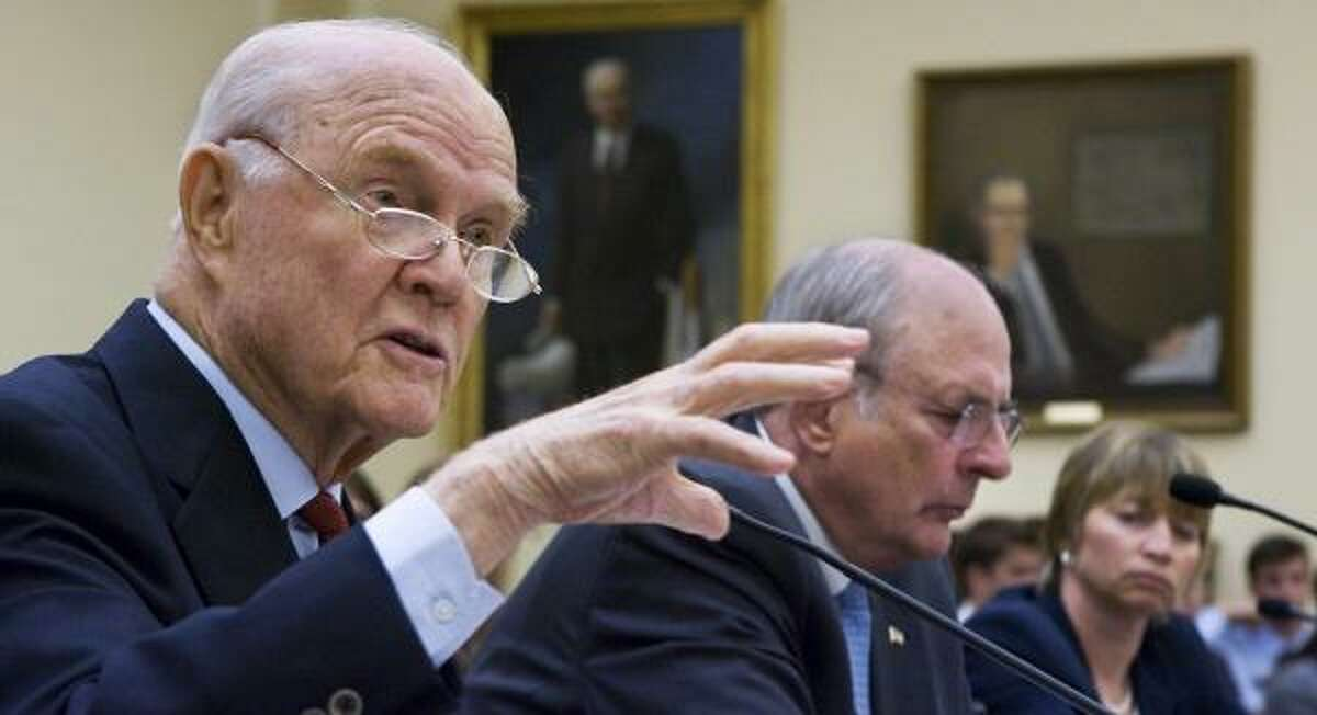 Former astronaut and retired Ohio Sen. John Glenn, left, testifies Wednesday before a House Science and Technology Committee hearing on NASA.