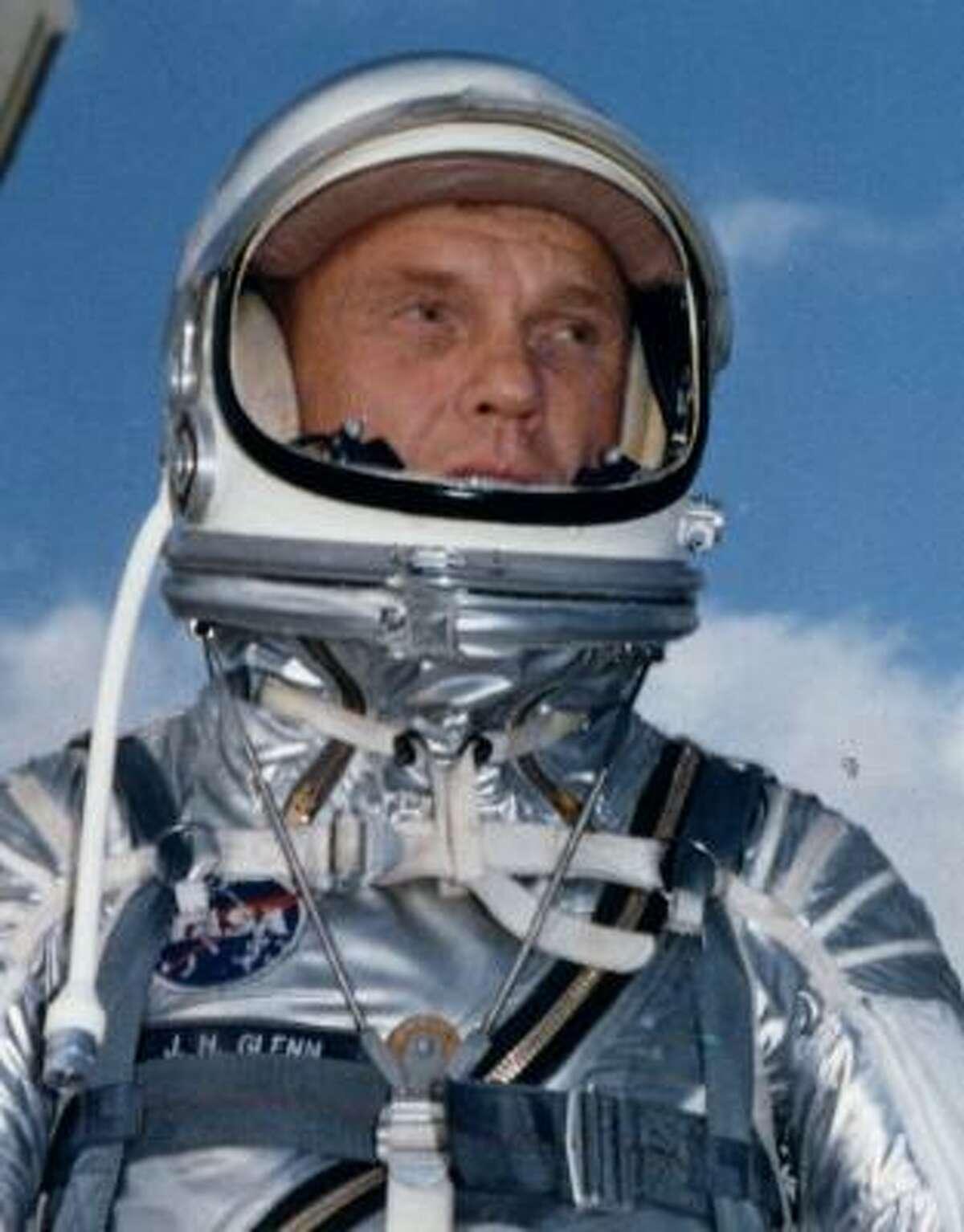 Mercury astronaut John Glenn wears his pressure suit in the early 1960s.