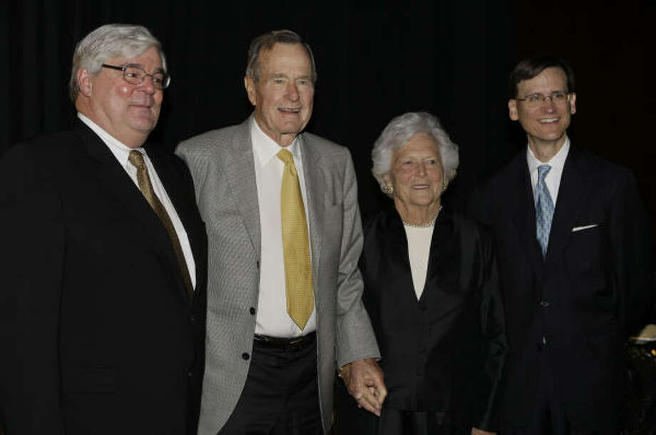 Boys and Girls Country Heritage Award Dinner honoree Pete Miller Jr., from left, was joined by former President George Bush, Barbara Bush and dinner chair J.R. Sult at the event that netted more than $1.5 million. Photo: Melissa Phillip, Chronicle