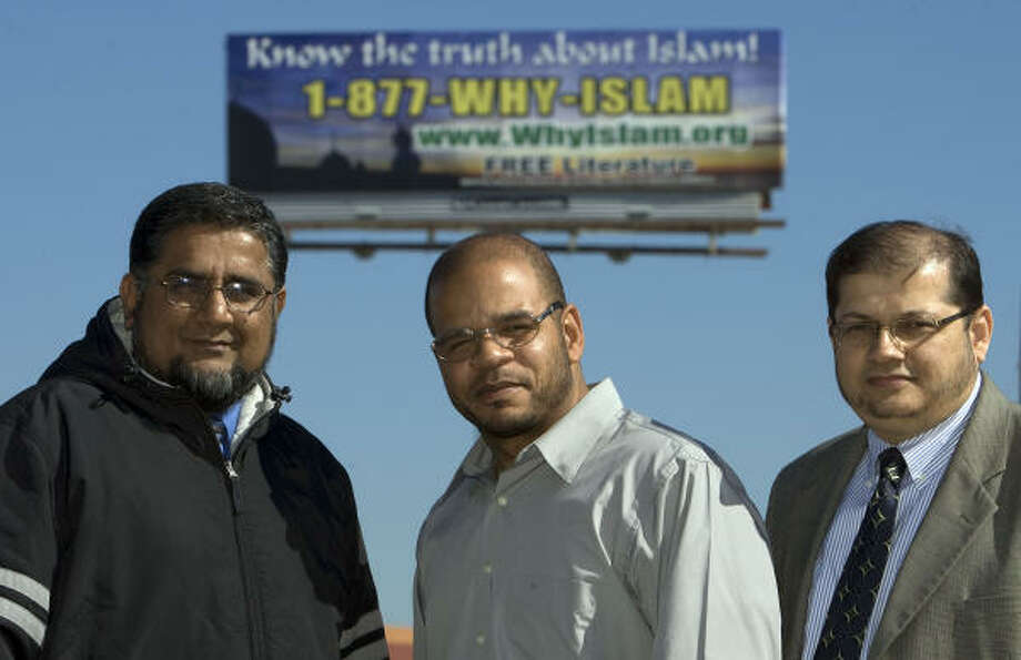 ILyas Choudry, left, Hanif Harris and Omer Syed hope the new service answers questions about Islam. Photo: James Nielsen, Chronicle