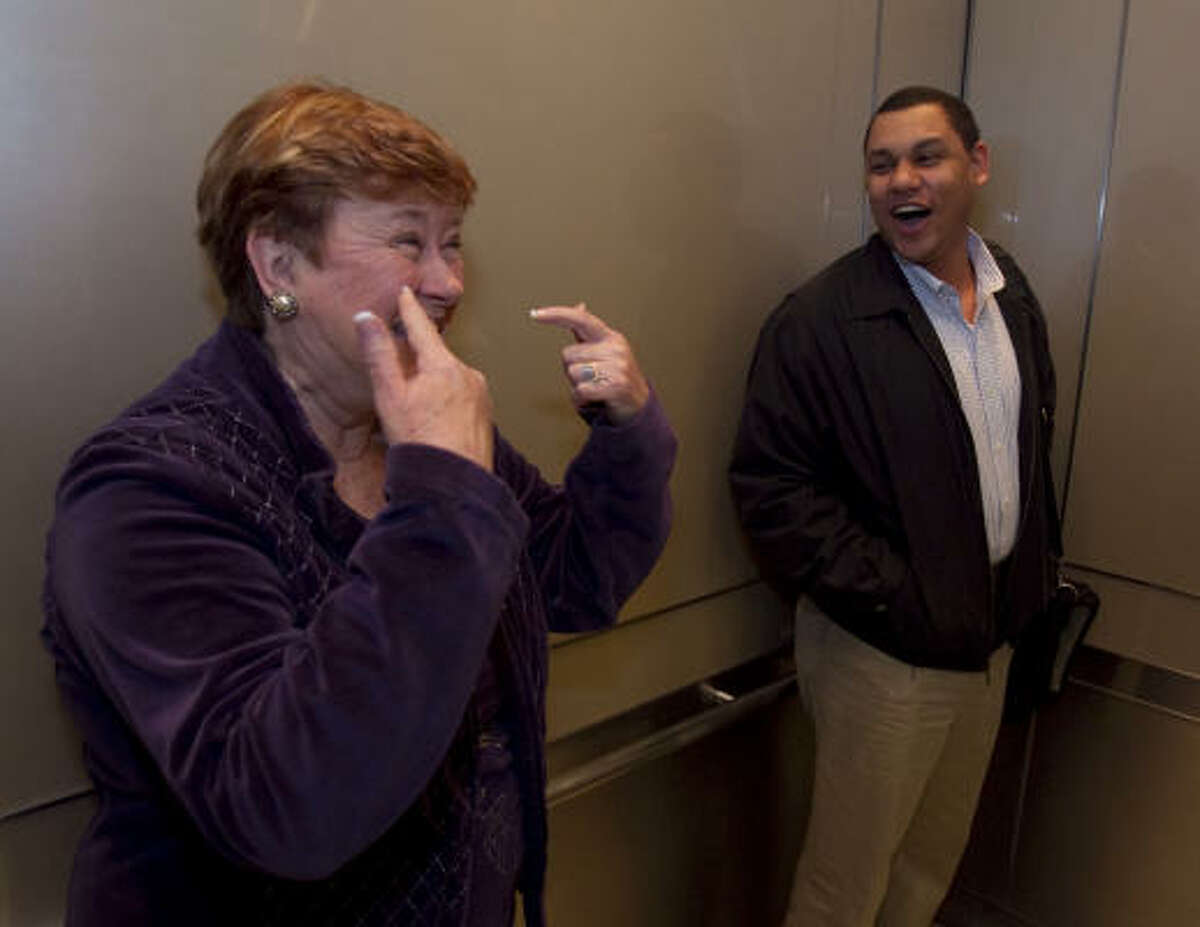 Retiring County Clerk Beverly Kaufman found excuses for humor all over the courthouse Wednesday - even while sharing an elevator with courthouse regular Zach White on her last day of work Wednesday.