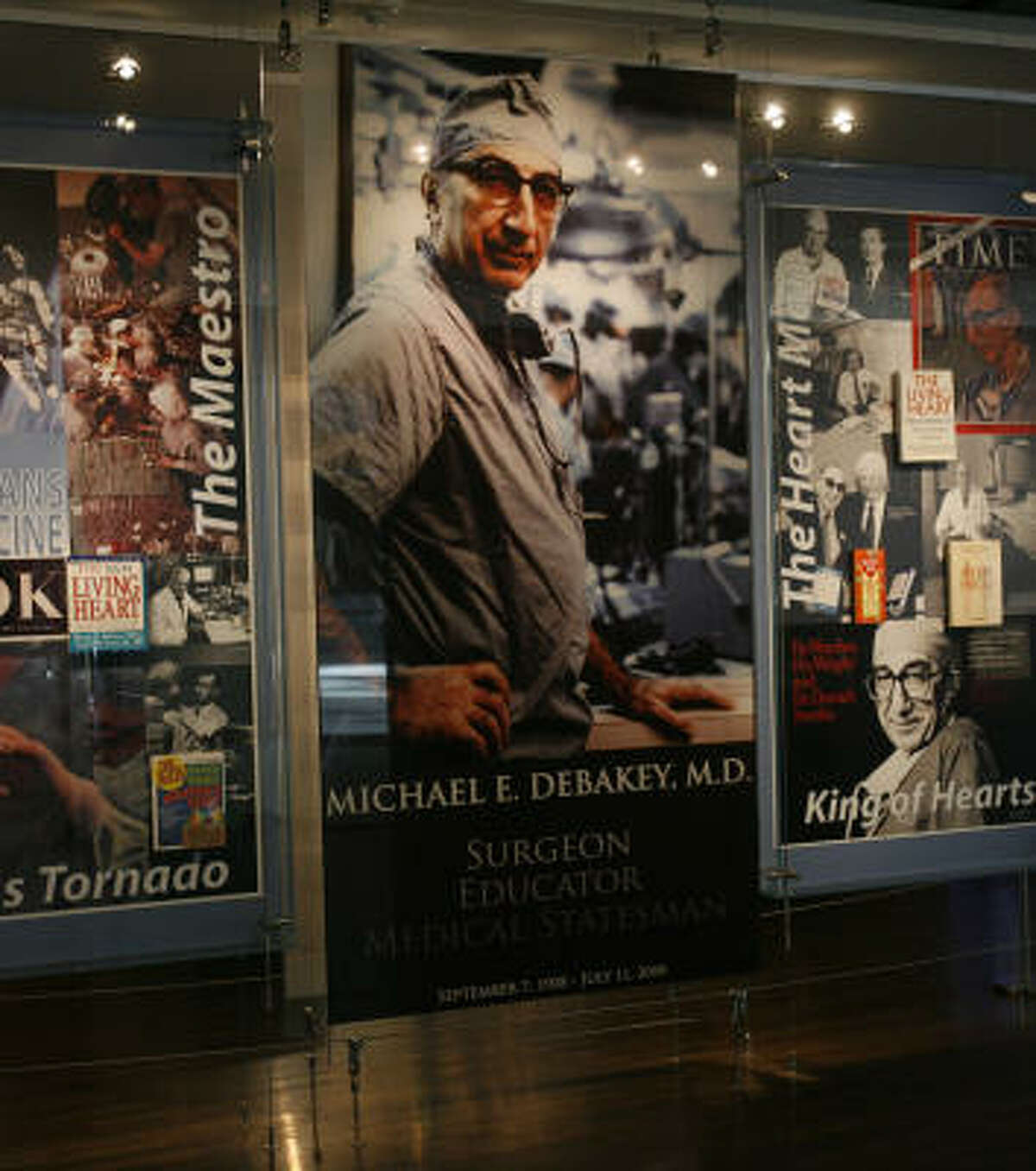 A portrait of DeBakey graces the entrance of the Michael E. DeBakey Library and Museum. Among those attending the Friday opening was one-time rival Dr. Denton Cooley.