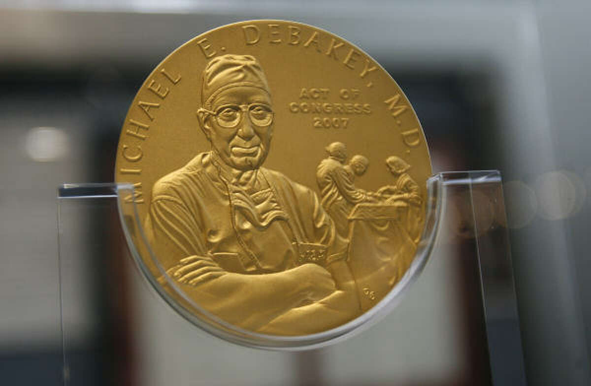 Exhibits chronicling life and achievements of heart surgeon Dr. Michael E. DeBakey include his Congressional Gold Medal.