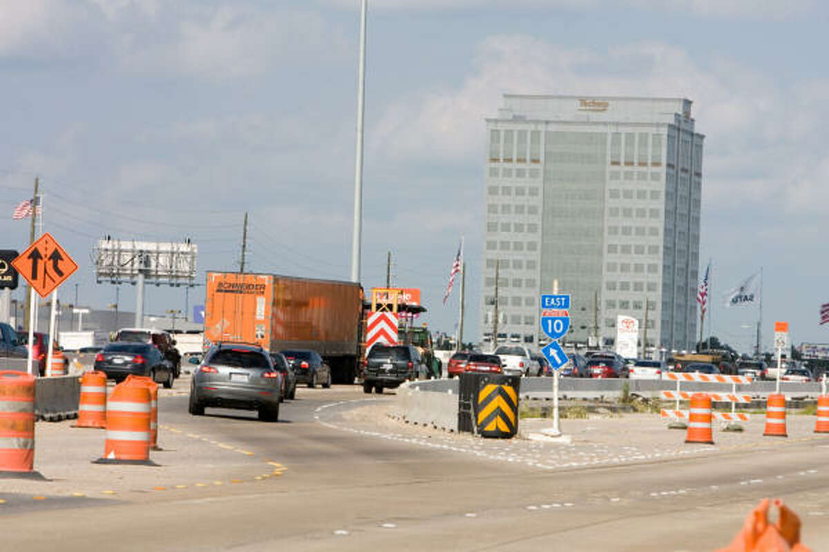 Construction work on the Katy Freeway between Beltway 8 and Dairy Ashford in June.