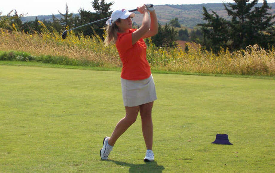 HBU freshman Gaia Olcese enters the final round one stroke out of the individual lead at the Great West Conference tournament. Photo: HBU
