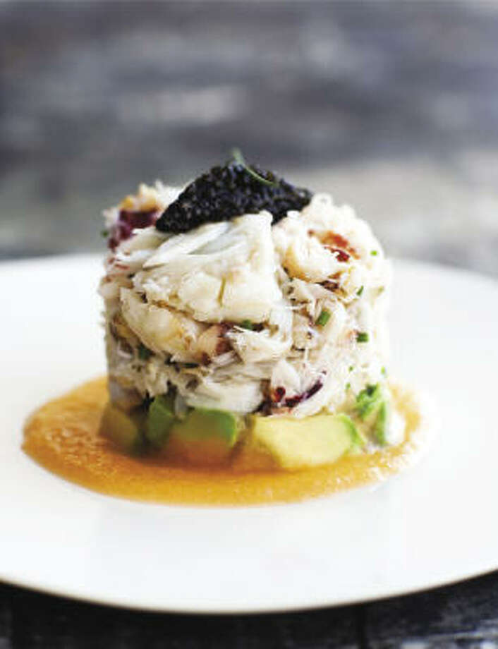 """Topped with Colvin Vinaigrette, the sea salad from """"Mixt Salads"""" is a refreshing mix of crabmeat, caviar, chives, Tuscan cantaloupe and avocado. Photo: TEN SPEED PRESS"""