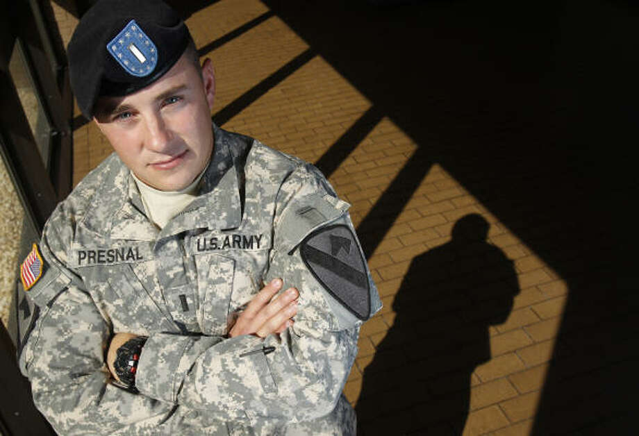 "U.S. Army 1st Lt. Ryan Presnal says of the suicides, ""I don't know why, and I don't know what I could've done."" Photo: Melissa Phillip, Chronicle"