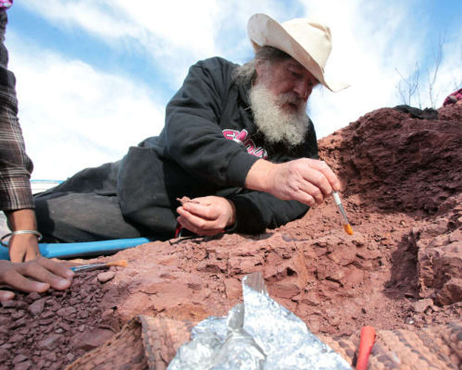 With his bushy beard and long hair, paleontologist Robert Bakker has become a familiar face around Seymour, Texas. Photo: James Nielsen, Houston Chronicle