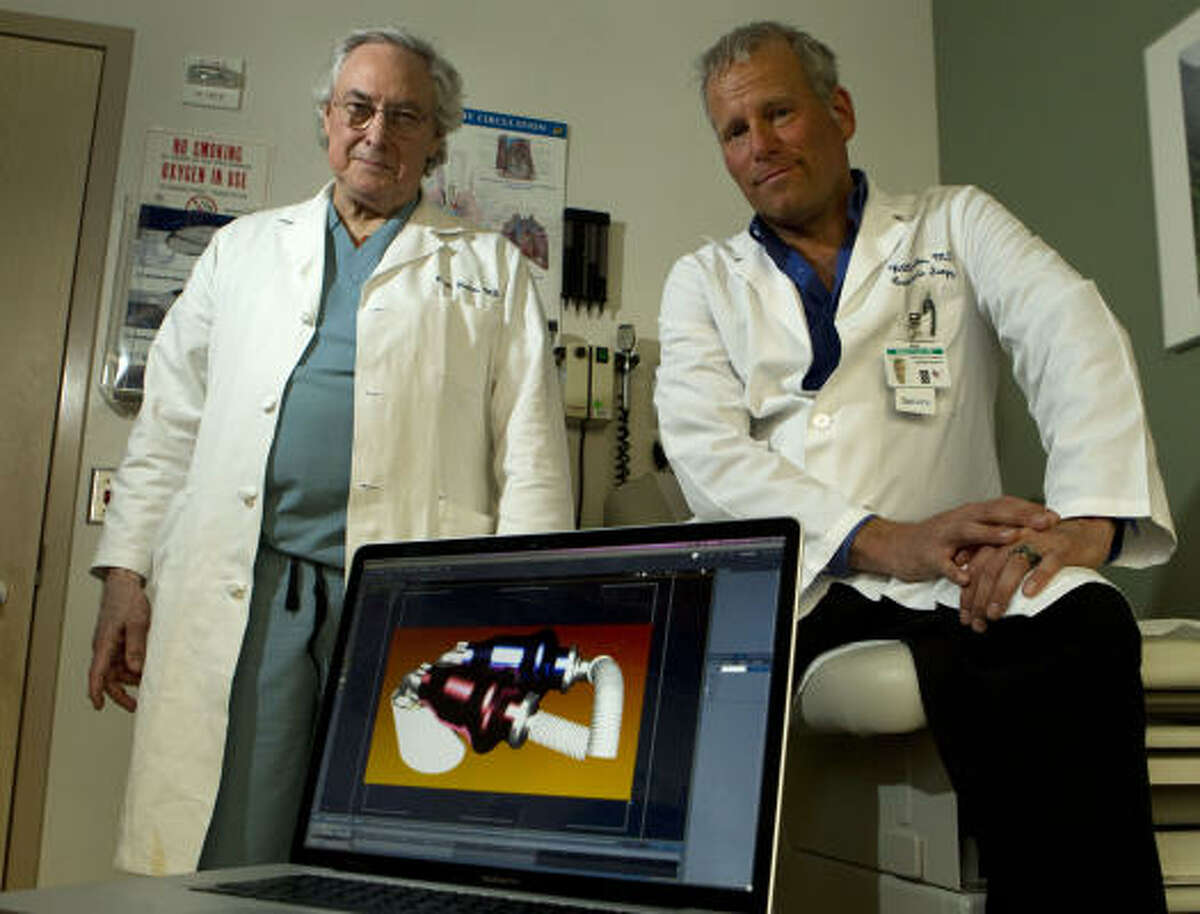 Dr. Bud Frazier, left, and Dr. William Cohn say their continuous-flow artificial heart are smaller and should last decades longer than the artificial hearts commonly used.