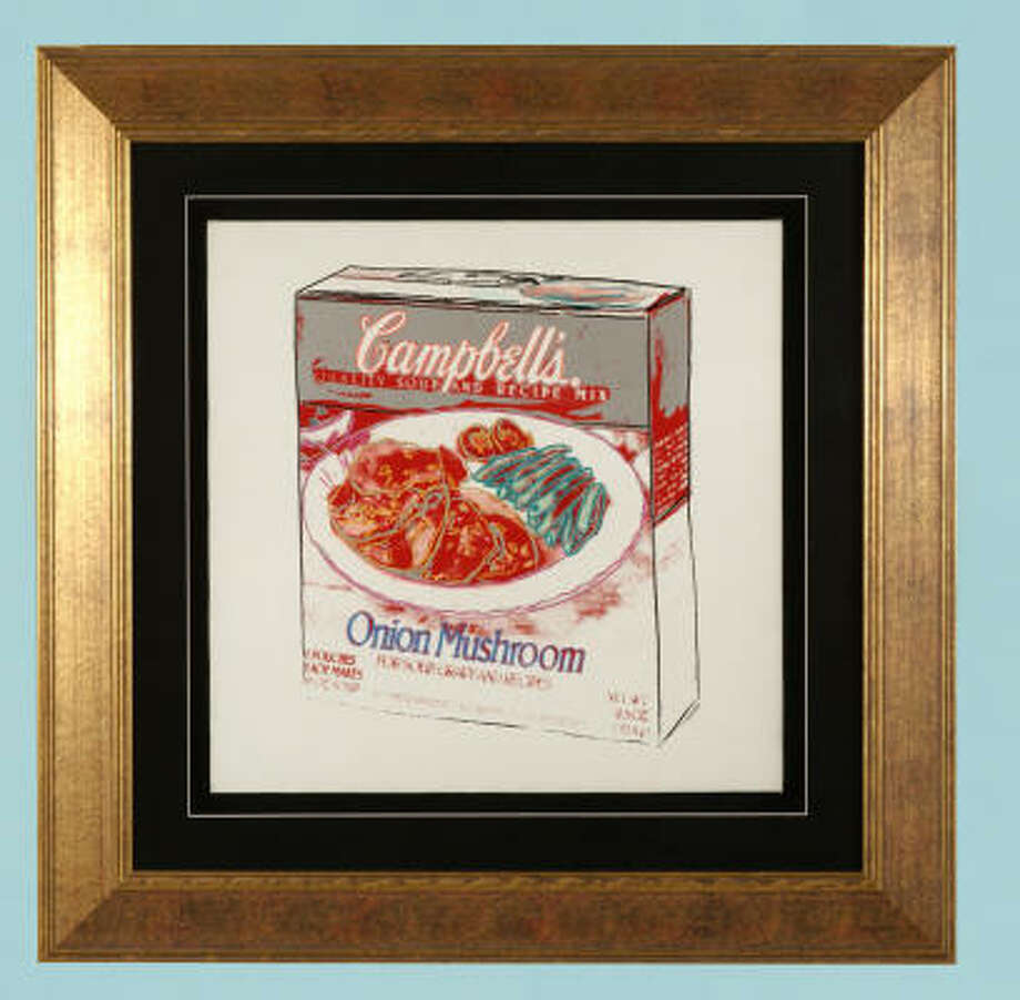 Campbell's Onion Mushroom Soup Box,a signed original, is expected to fetch $300,000-$350,000. Photo: LEWIS & MAESE AUCTION CO.