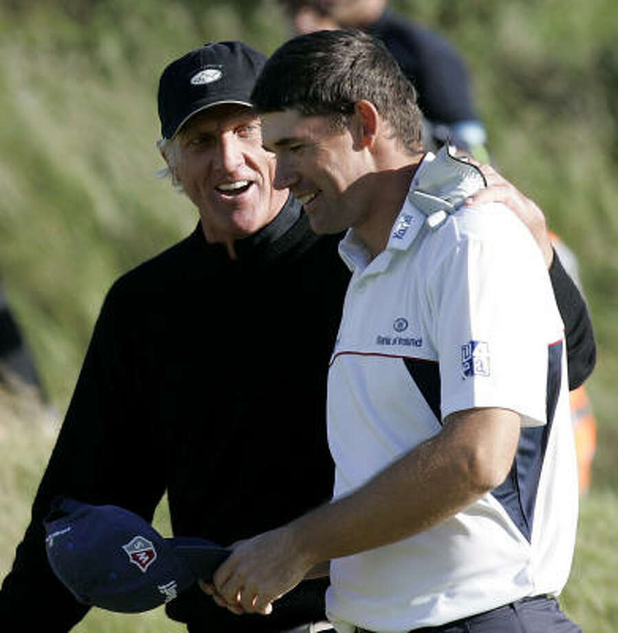 For the eighth time in his career, Greg Norman had the lead entering the final round of a major, but he couldn't hold off Padraig Harrington to claim the Claret Jug. Photo: Peter Byrne, AP