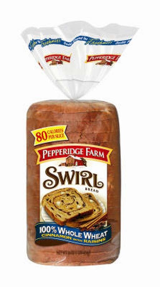 Pepperidge Farm 100% Whole Wheat Cinnamon with Raisins Swirl Bread Photo: PEPPERIDGE FARM