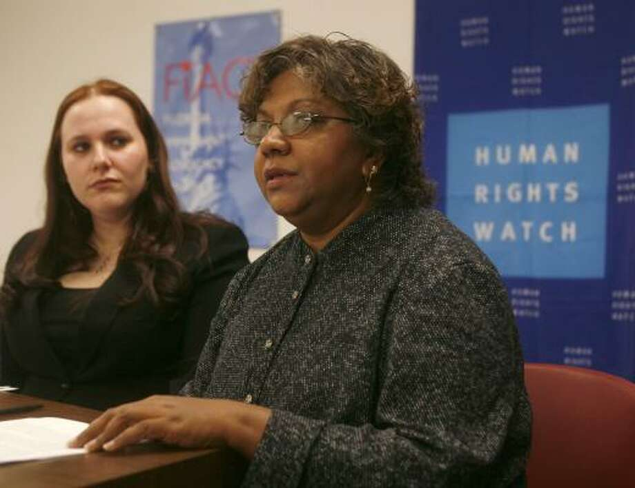 Former detainee Marlene Jaggernauth, right — shown at a news conference in Miami Tuesday with Meghan Rhoad, of  Human Rights Watch — said ICE delayed approval of her request to see a gynecologist. Photo: WILFREDO LEE, Associated Press