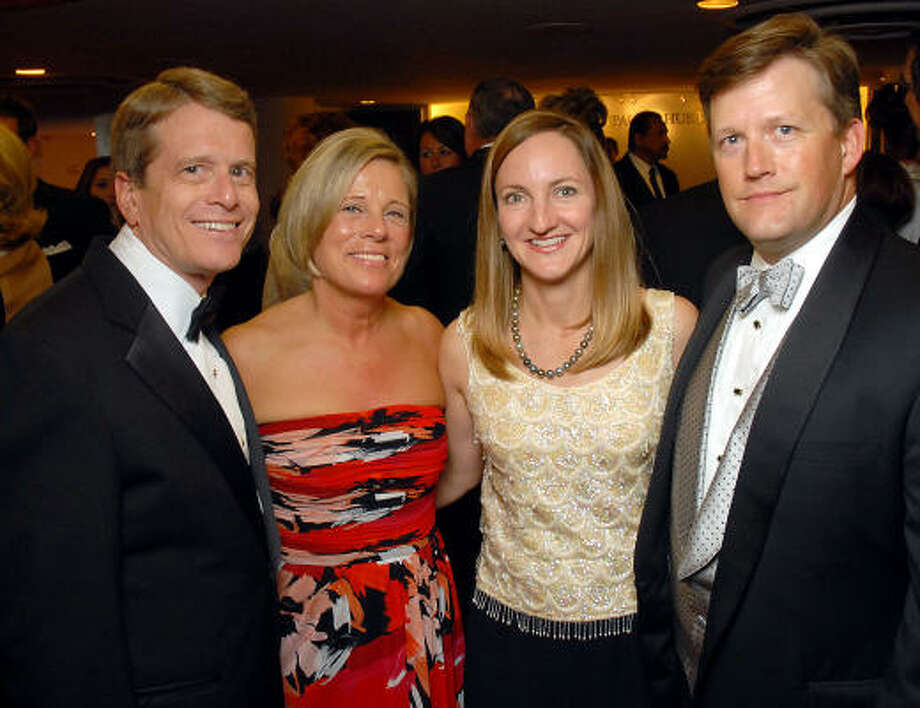 """Alley Theatre managing director Dean Gladden and wife Jane, from left, joined the """"Rock 'n' Roll"""" festivities along with Chris Bryan and Trey Peacock, head of the Alley's special events committee. Photo: Dave Rossman, For The Chronicle"""