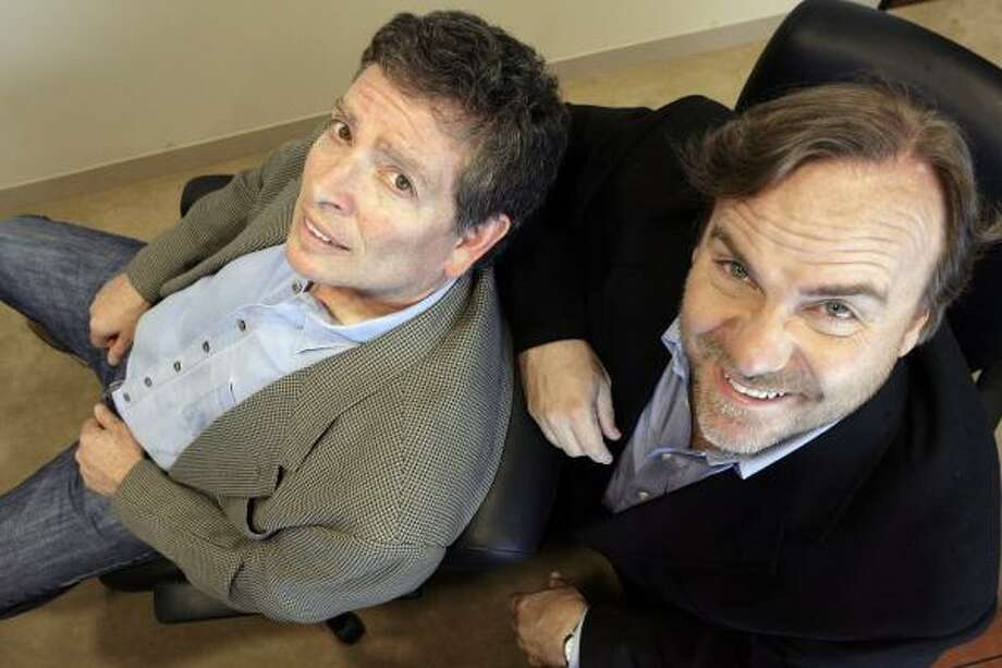 """David Zucker, left, directs and actor Kevin Farley stars in the film """"An American Carol."""" Photo: Ric Francis, Associated Press"""